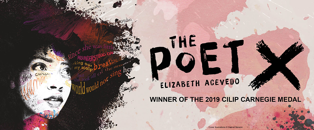 Website slider for The Poet X by Elizabeth Acevedo